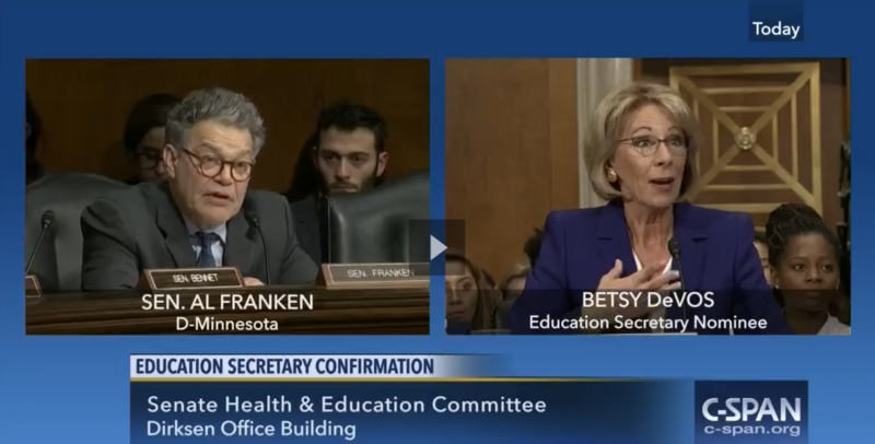 Besty DeVos during her hearing.