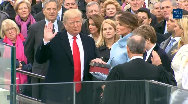 Donald J. Trump takes the Oath of Office and becomes the nation's 45th President.