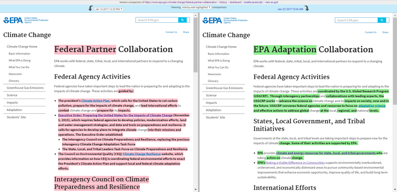 Screenshots of an EPA website on Jan 16, 2017 and Jan 22, 2017