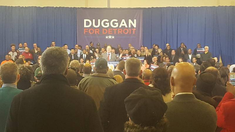 Detroit Mayor Mike Duggan announcing his campaign for reelection.