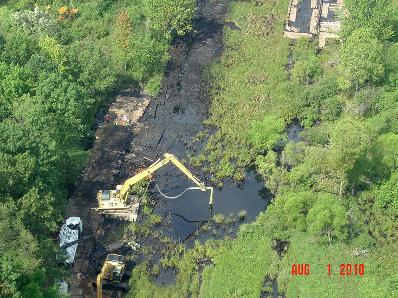 EPA response operations on Talmadge Creek near the Kalamazoo River after the oil spill.