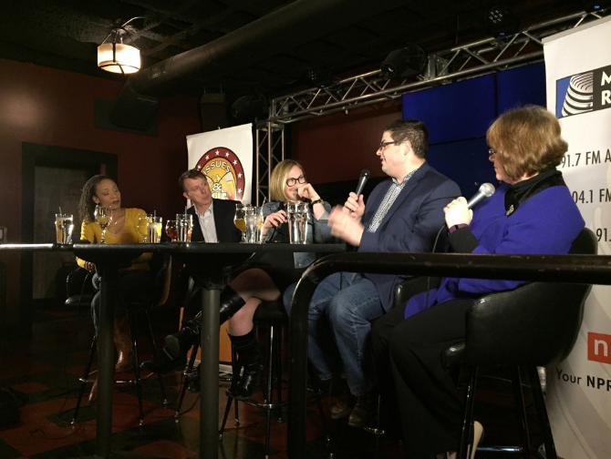 Panelists from left to right: Chastity Pratt Dawsey, Rick Pluta, Zoe Clark (host), Chad Livengood and Lee Wilkins