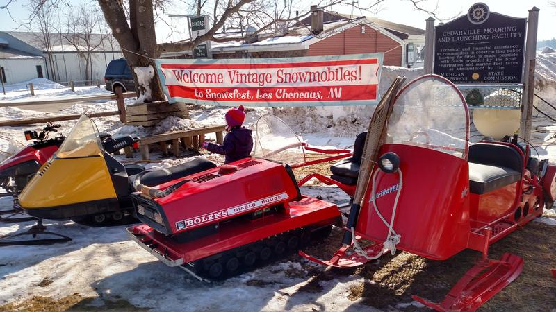 A vintage snowmobile exhibit is on display on Saturday, Feb. 18 at Snowfest in Cedarville, Mich. in the Upper Peninsula. As you can see, the snow was already starting to melt.