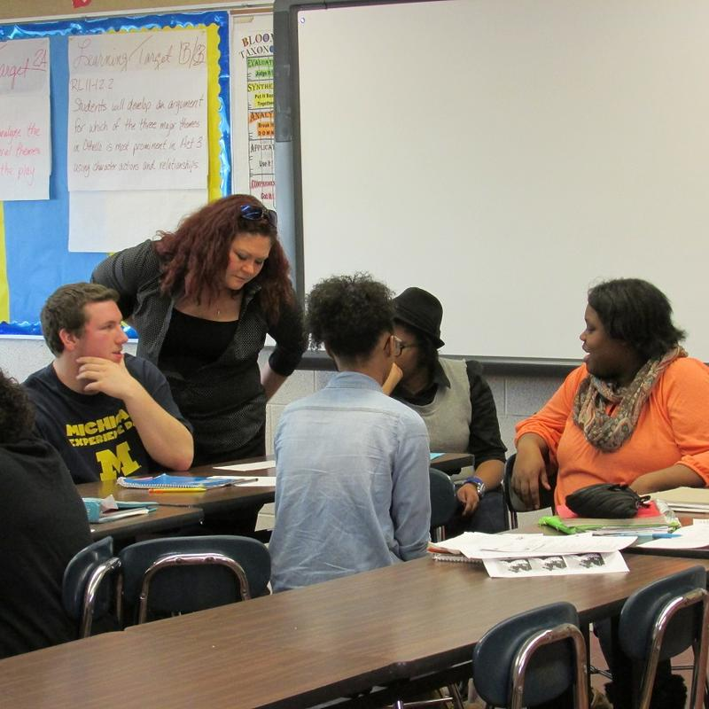 Teacher and students at Flint's Southwestern Academy.