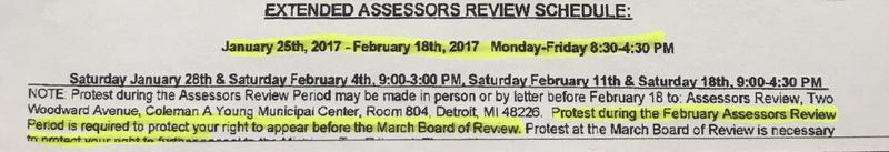 Property tax assessments mailed to Detroit residents show the wrong deadline for appealling. Officials extended the deadline to February 28th.