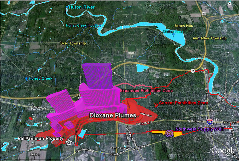 Map shows the extent of the underground 1,4-dioxane plume under Ann Arbor.