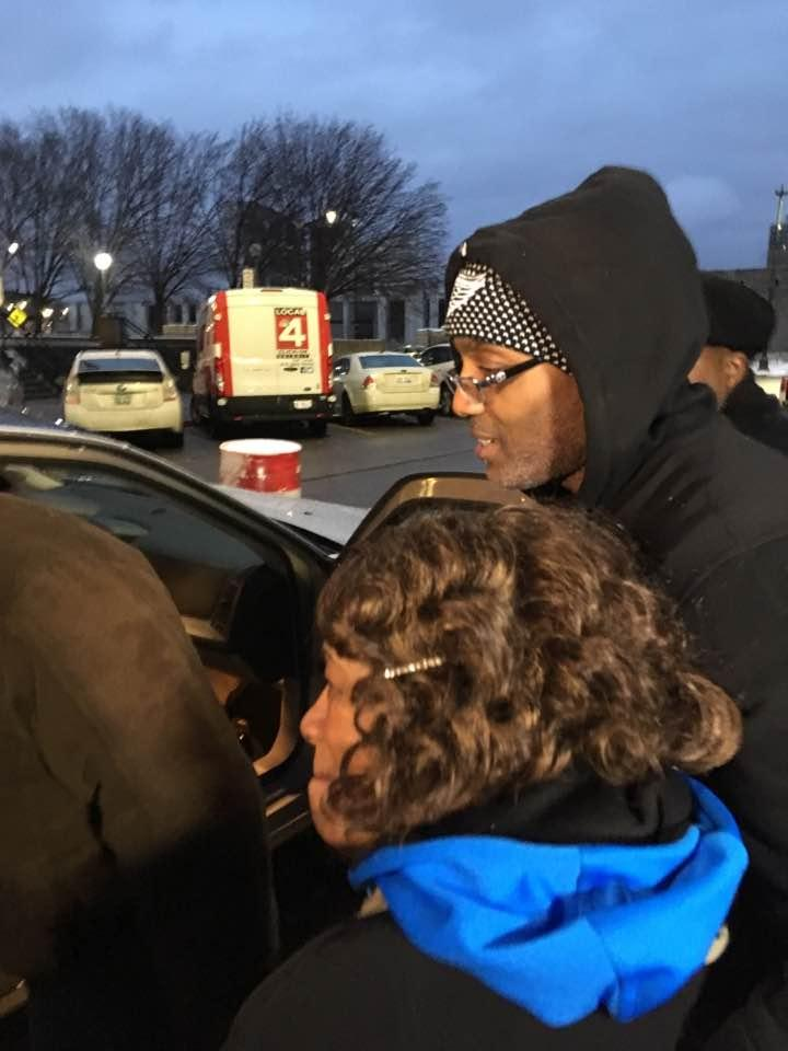Lamarr Monson and his mother, Delores, just after his release from jail.