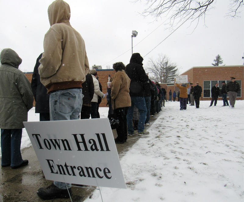 The snow and long line at the front door didn't stop the 300+ people from the meeting in Baldwin, about an hour north of Grand Rapids.