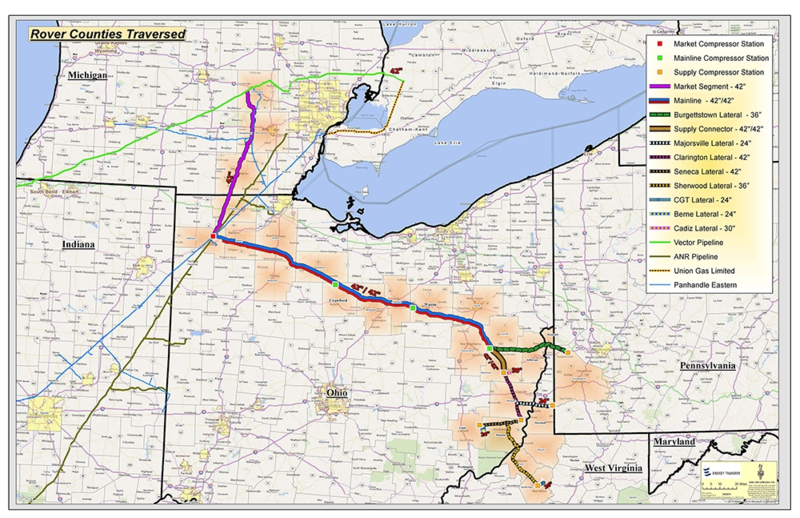 The path of the Rover pipeline will cut through Lenawee, Washtenaw and Livingston counties