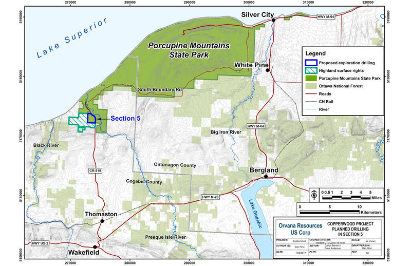 This map shows land ownership and location of the exploratory copper drilling project.