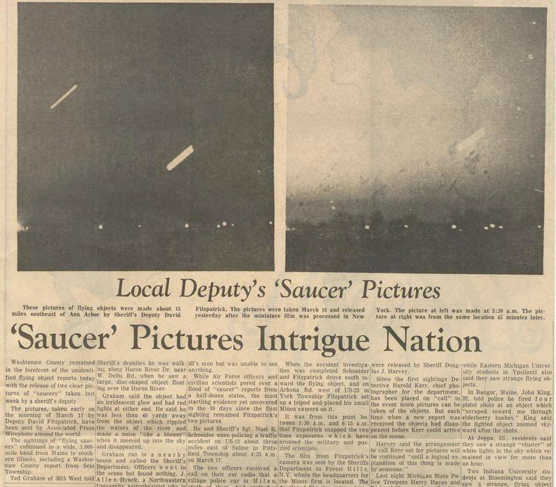 The March 25, 1966 edition of The Ann Arbor News included some of the few images captured of the unidentified flying objects.