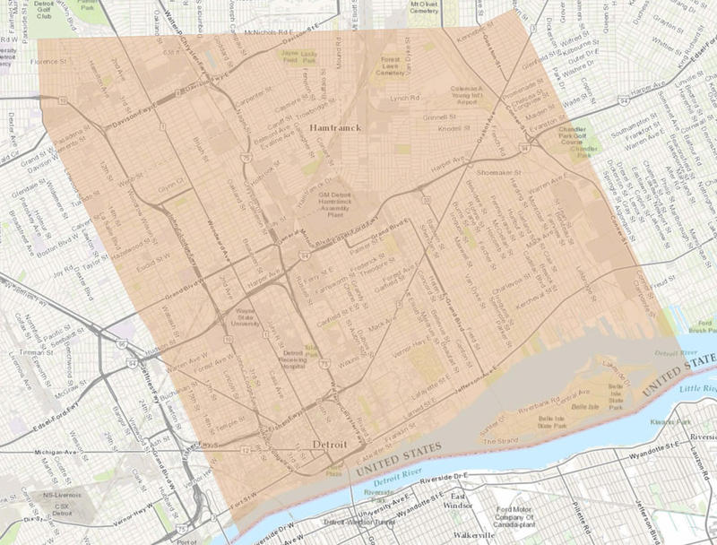 Area where the boil water advisory was in effect.