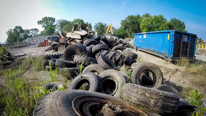 Dumped tires.