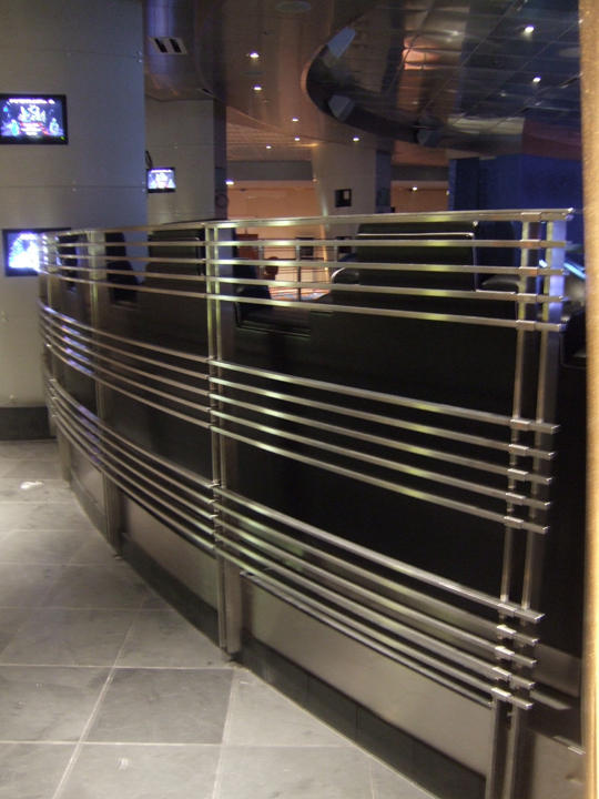 Motor City Casino, Stainless Steel guard rail and drink rail. Detroit, MI.