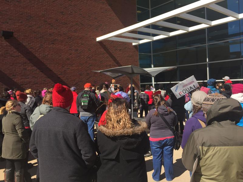 Rally attendees at Eastern Michigan University.