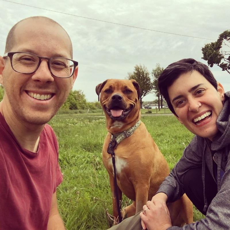 Zak and Shira Rosen with their dog Rumi.