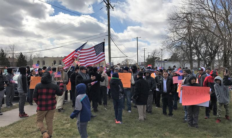Protesters marched from the American Moslem Center and Springwells Village, in Dearborn, to meet at George S. Patton Park.
