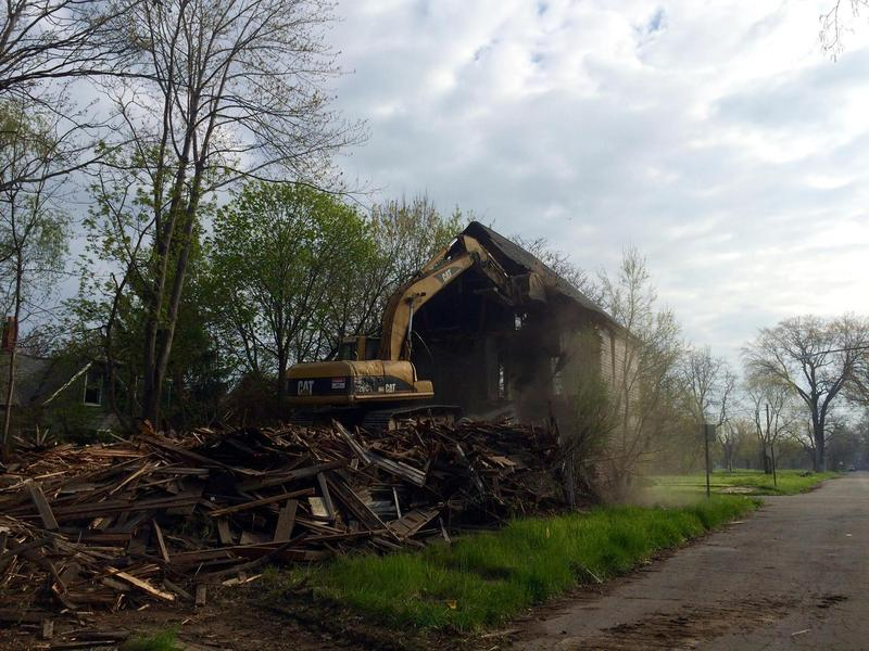 A demolition on Detroit's east side.