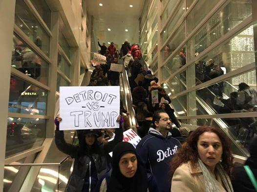 Protesters against the initial travel ban at Detroit Metro Airport, Jan. 30.