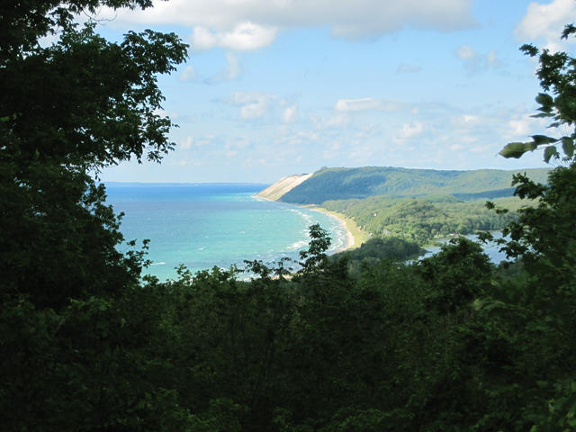 A view of sand dunes and Lake Michigan