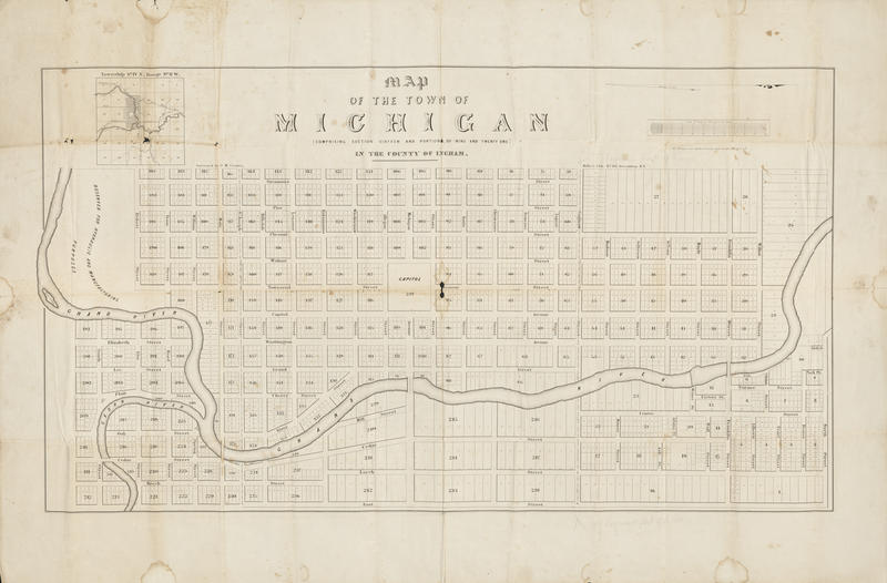 "A map of the early capital city. (Lansing's original name was ""Michigan."")"
