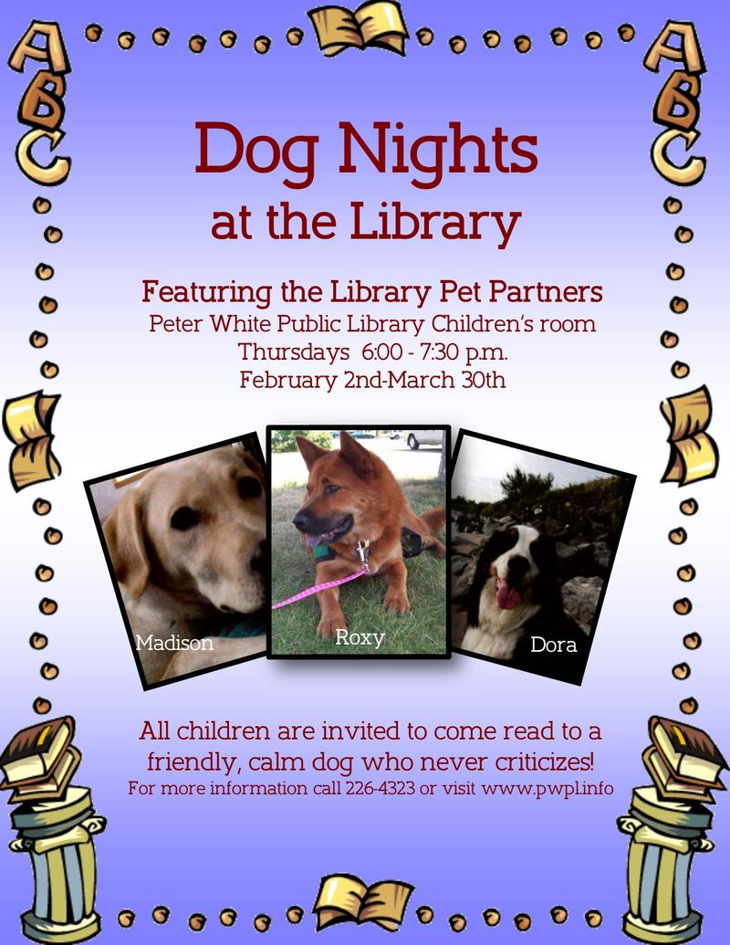 The Peter White Public Library in Marquette has three library dogs: Madison, Roxy, and Dora are pictured here on a flyer.