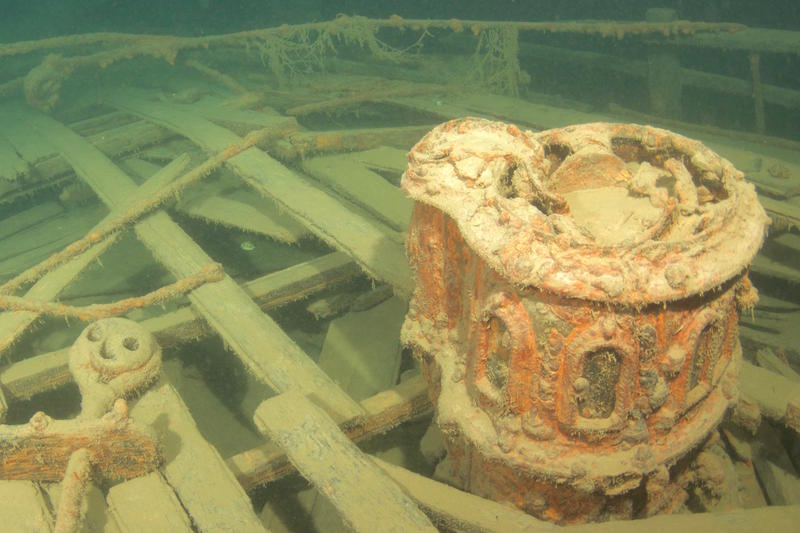 A stove on the deck of the sunken vessel.