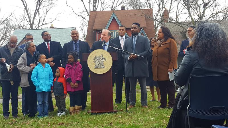 Detroit Mayor Mike Duggan speaking where he plans to build Ella Fitzgerald Park on the city's northwest side