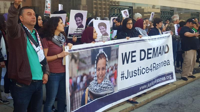 Protestors in support of Rasmea Odeh, a Palestinian American social activist and alleged terrorist, lined up outside of the federal courthouse on Lafayette street in Detroit.