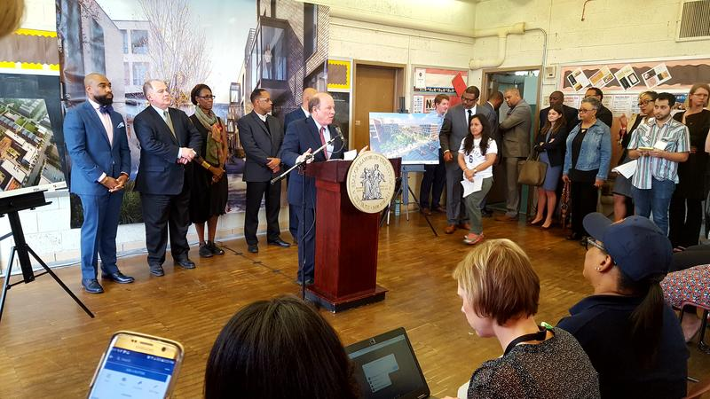 Mayor Mike Duggan announcing plans for Midtown west development project at Delta Prep Academy in Detroit