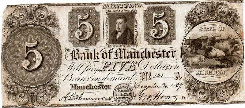 A five dollar banknote from 1837, printed by the Bank of Manchester, Michigan.