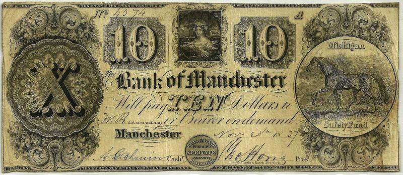 A ten dollar banknote from 1837, printed by the Bank of Manchester, Michigan.