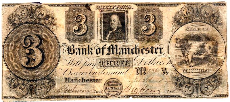 A three dollar banknote from 1837, printed by the Bank of Manchester, Michigan.