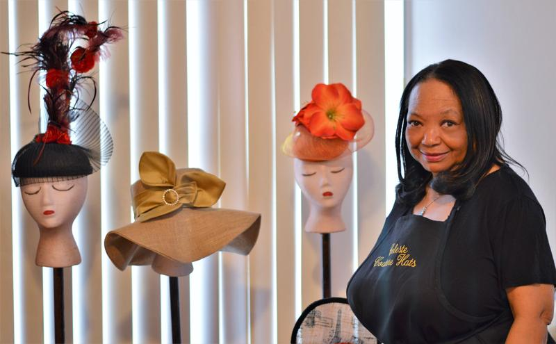 Celeste Smith of Celeste Couture Hats and some of her work on display at her studio.