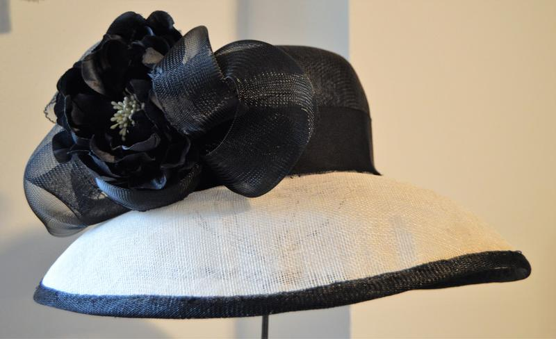A Celeste Couture hat on display at the studio.