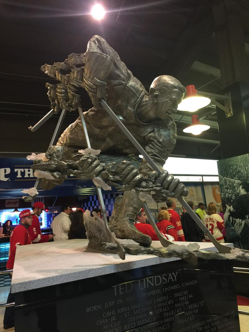 The statue of Red Wings great Ted Lindsay inside Joe Louis Arena.