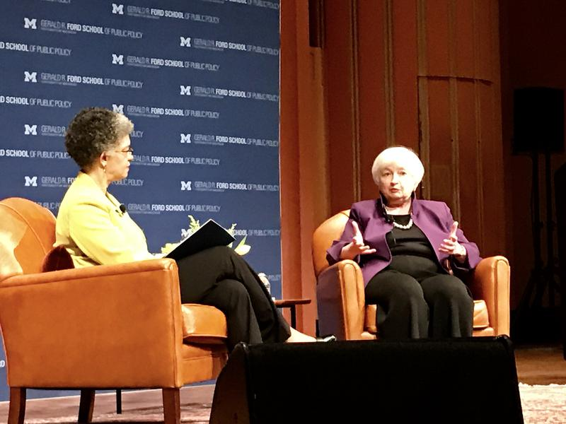 Right: Federal Reserve Chair Janet Yellen Left: moderator Susan M. Collins, Sanford Weill Dean of Public Policy at the University of Michigan Gerald R. Ford School of Public Policy.