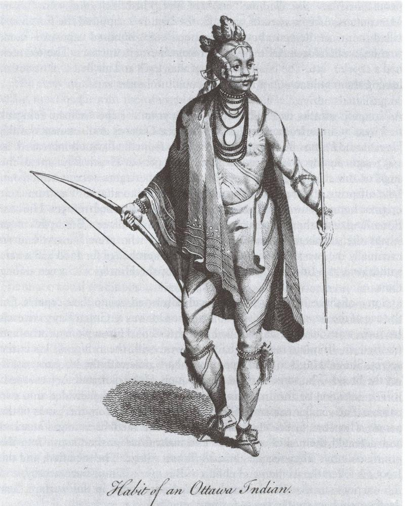 One of the earliest sketches of an Odawa, Mackinac circa 1700.