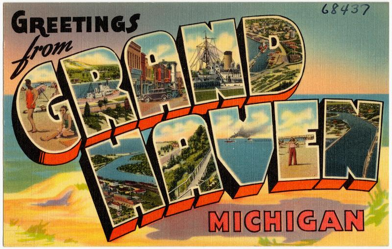 "Vintage postcard ""Greetings from Grand Haven, Michigan."""