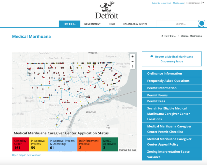 Screenshot of Detroit website allowing residents to see locations of medical marijuana caregiver centers.