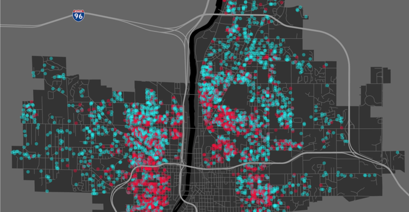Pushed Out, a Michigan Radio investigative documentary, analyzes the continued fallout of the housing crisis in Grand Rapids. See visuals of Michigan Radio's property data analysis below.