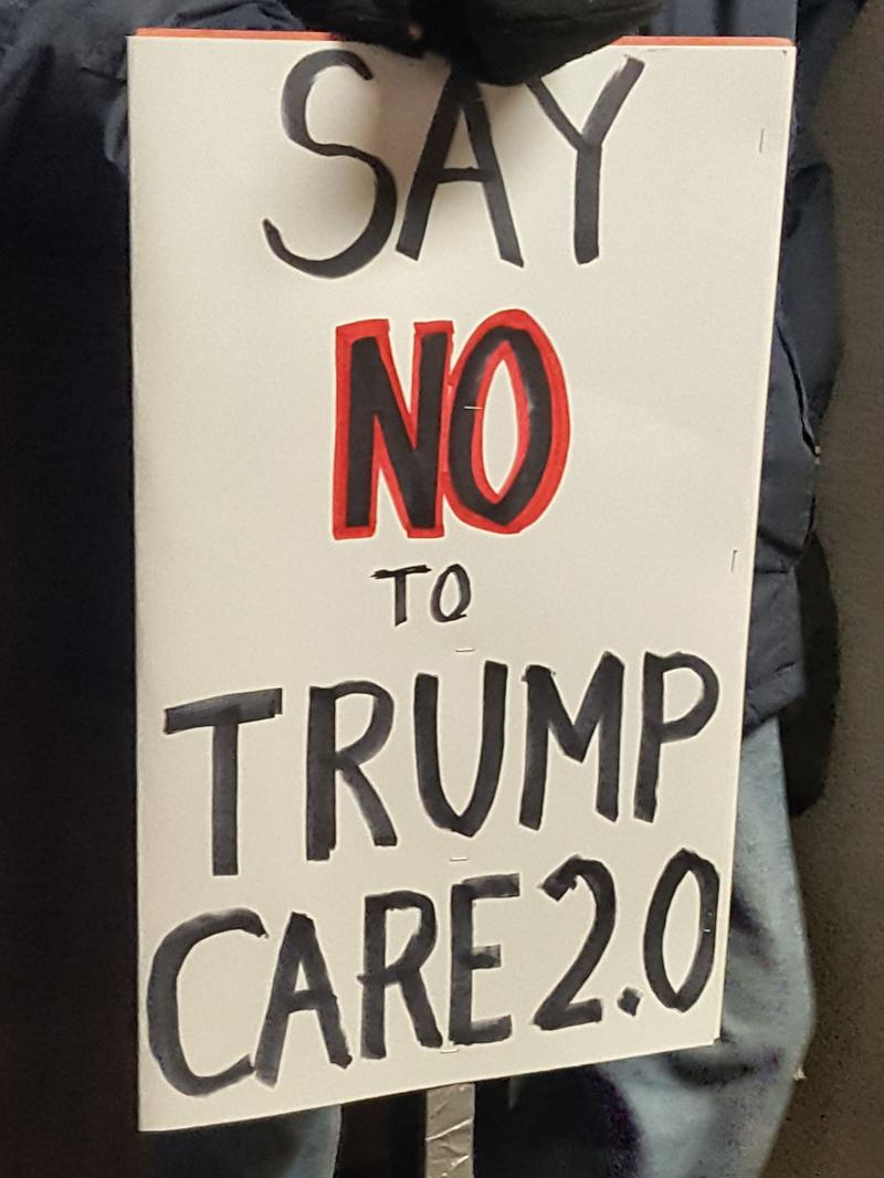 A sign protesting the House bill that seeks to repeal the Affordable Care Act.