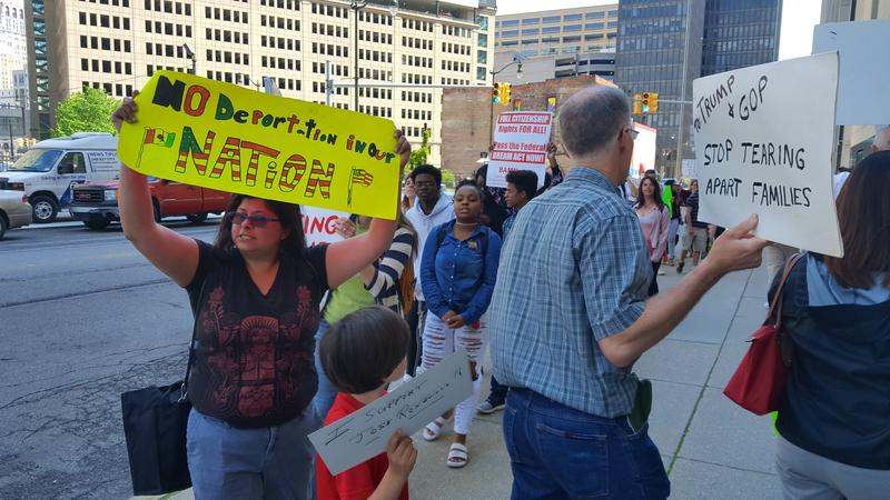 Protestors outside of the federal courthouse in Detroit in suport of Jose Luis Sanchez-Ronquillo and his family.