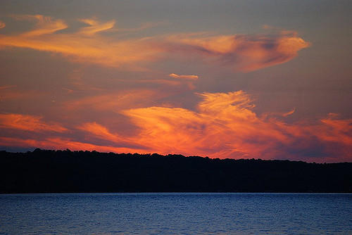 Photograph of a sunset over Torch Lake, Michigan