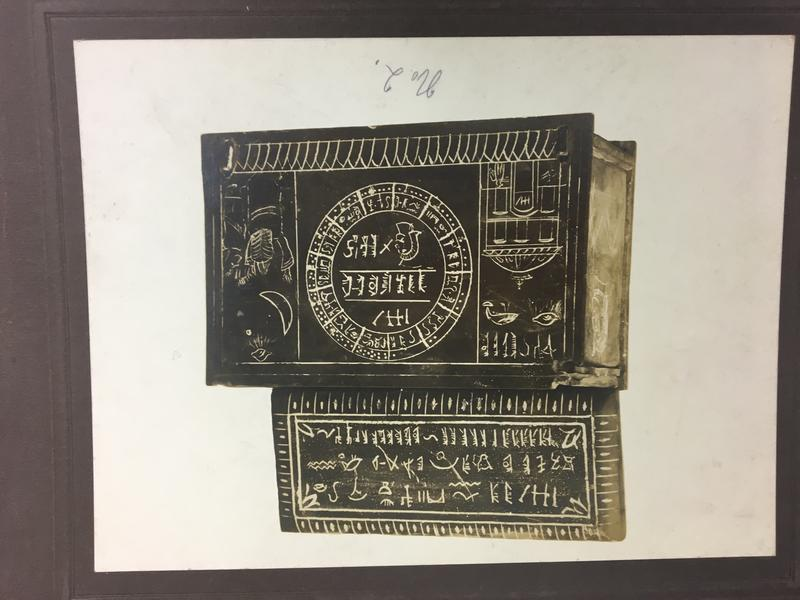 "This box from the debunked ""Michigan"" or ""Soper"" relics collection uses ancient script to appear authentic."