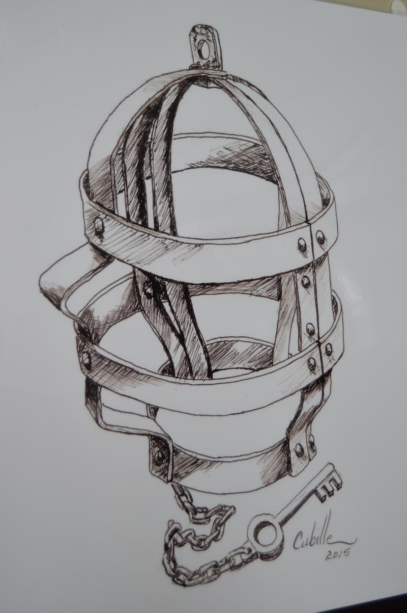 A device used to punish prisoners. The heavy iron mask might be worn day and night for days.