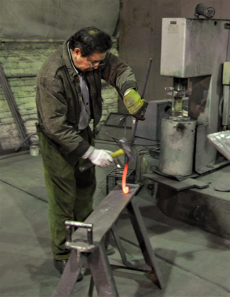Pedro Avilez working on a piece of steel which just came out of the forge.