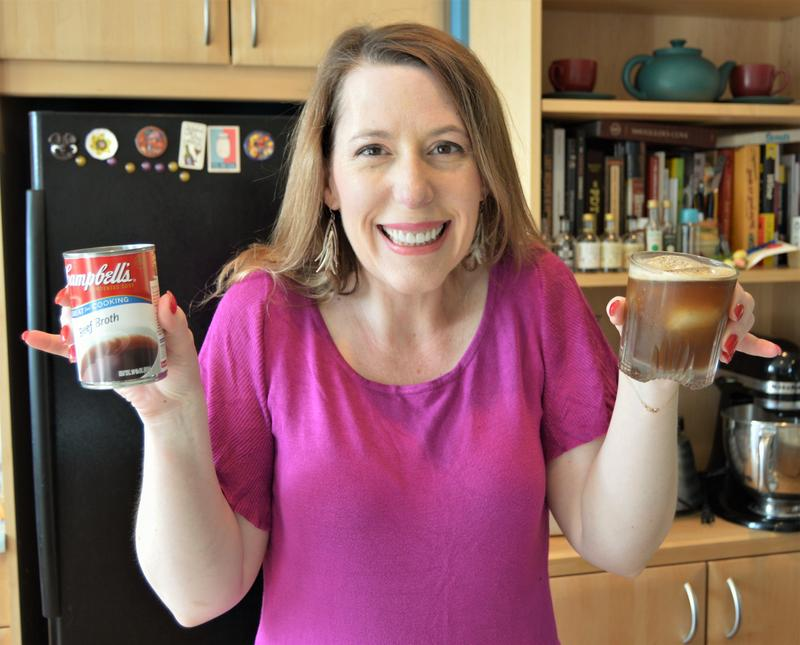 Tammy Coxen of Tammy's Tastings was not too sure about a mixed drink with Campbell's beef broth.