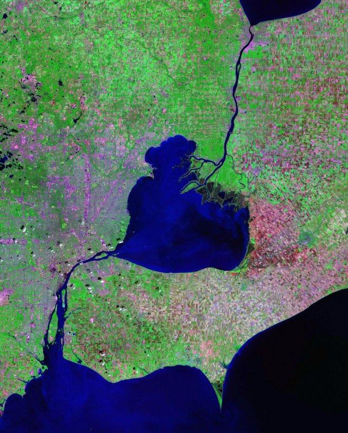 Satellite photo of the St. Clair River, Lake Saint Clair, and Detroit River