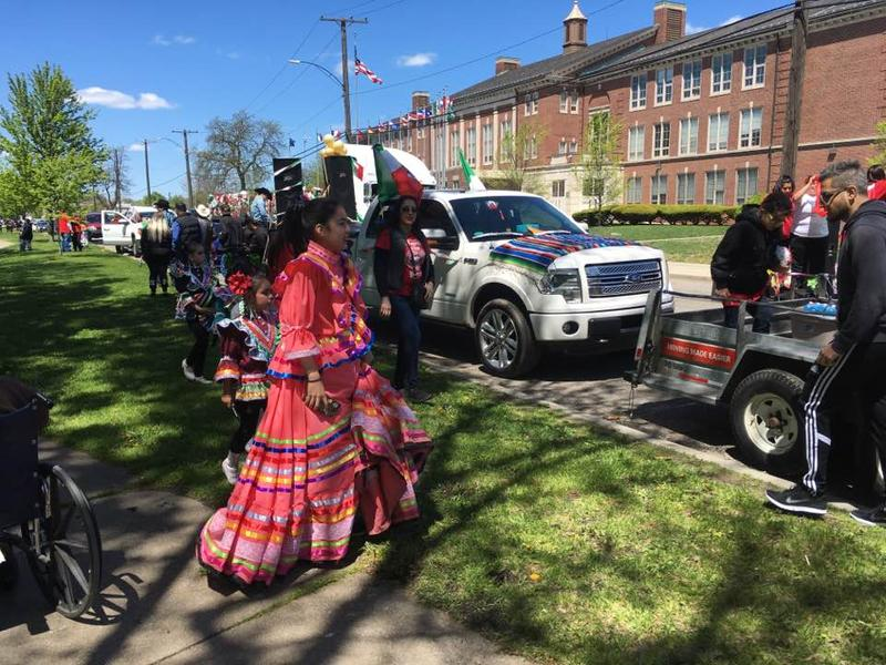 Wrapping up at the end of Detroit's cinco de mayo parade route in Clark Park.